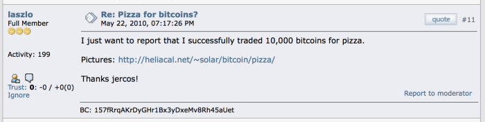 Pizza for bitcoin